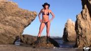 Beautiful Swimsuit Bikini Model Tall, Sexy, Hot Fitness Model In A Blue, Bikini. Great Abs