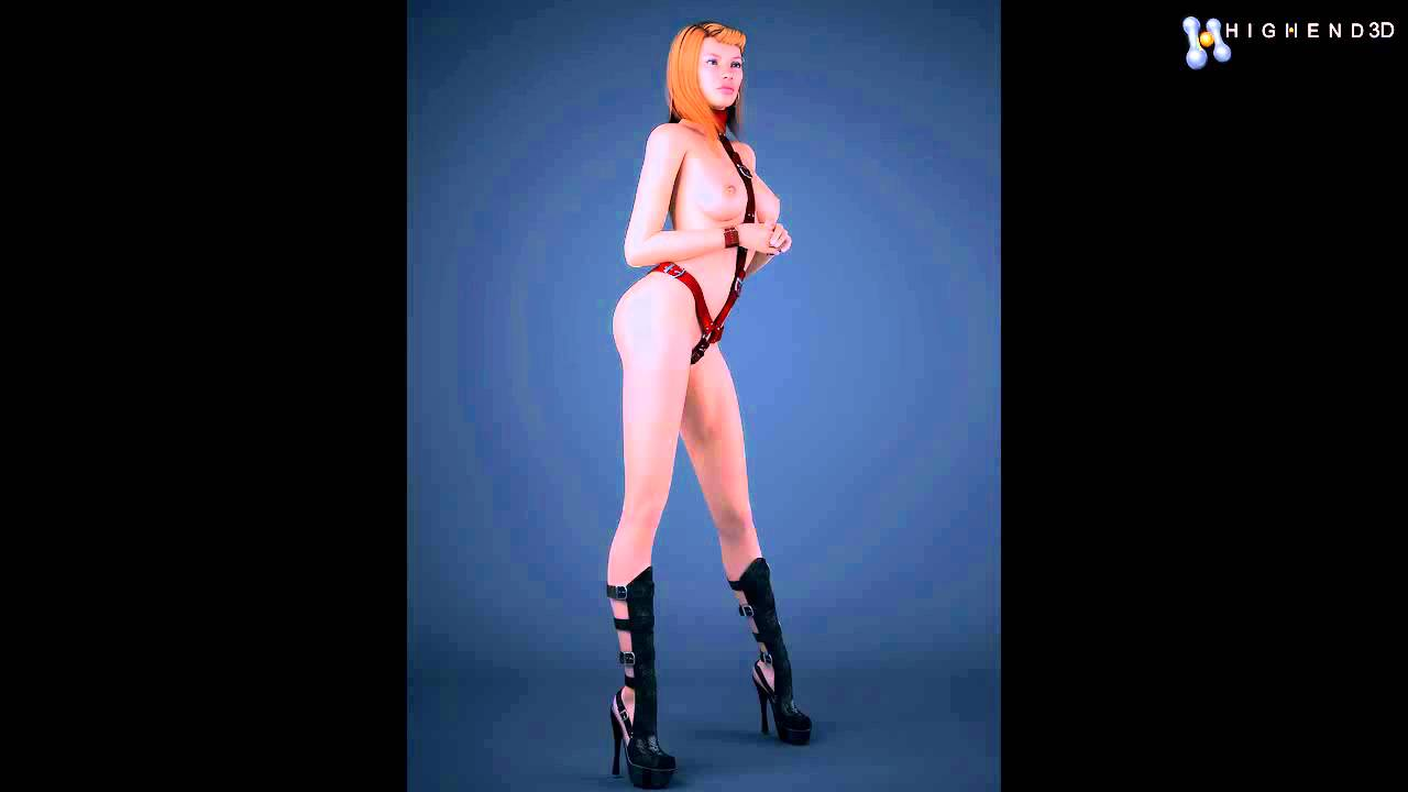 Realistic Redhead Woman Wearing Bdsm Style Bikini And Sexy Boots – 3 Poses 3d Model From Creativecra